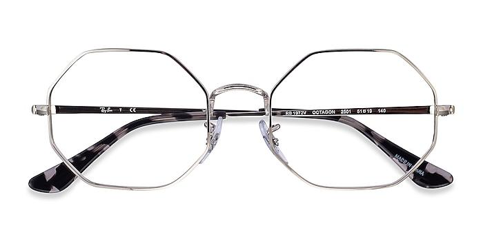 Silver Ray-Ban Octagon -  Lightweight Metal Eyeglasses