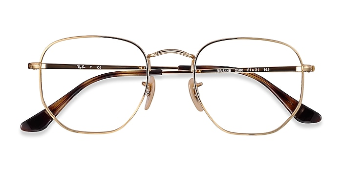 Gold Ray-Ban RB6448 -  Lightweight Metal Eyeglasses