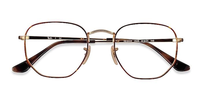 Tortoise Gold Ray-Ban RB6448 -  Lightweight Metal Eyeglasses