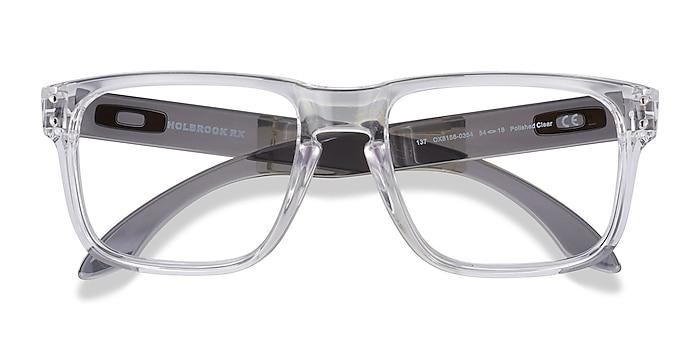 Polished Clear & Gray Oakley Holbrook Rx -  Plastic Eyeglasses
