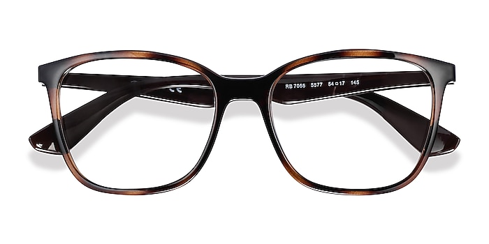 Tortoise Brown Ray-Ban RB7066 -  Lightweight Plastic Eyeglasses