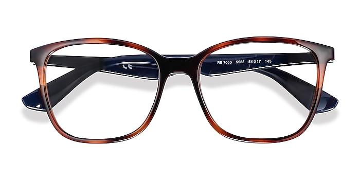 Tortoise Blue Ray-Ban RB7066 -  Lightweight Plastic Eyeglasses
