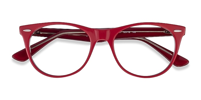 Red Transparent Ray-Ban RB2185V -  Classic Acetate Eyeglasses