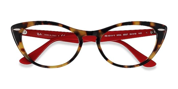 Tortoise Red Ray-Ban Nina -  Acetate Eyeglasses