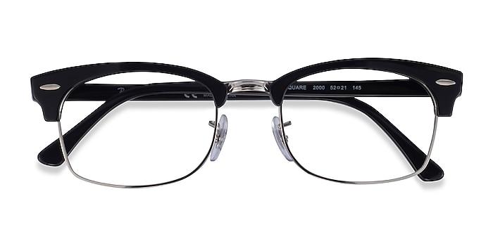 Black & Silver Ray-Ban Clubmaster Square -  Acetate Eyeglasses