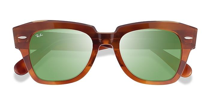 Havana On Transparent Beige Ray-Ban State Street -  Acetate Sunglasses