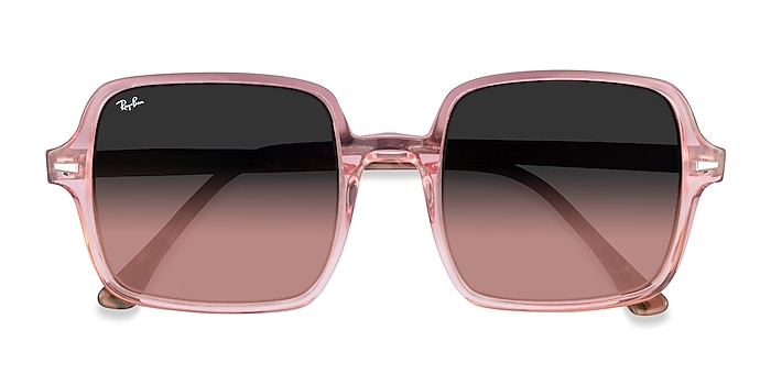 Transparent Pink Ray-Ban Square II -  Acetate Sunglasses