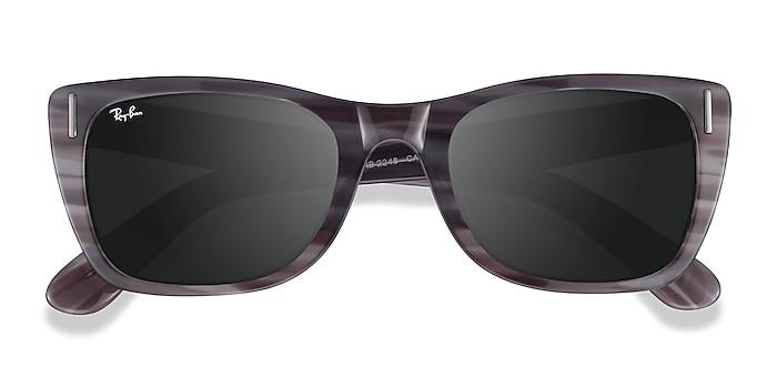 Striped Gray Ray-Ban Caribbean -  Acetate Sunglasses