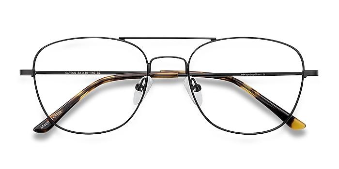 Black Captain -  Vintage Metal Eyeglasses