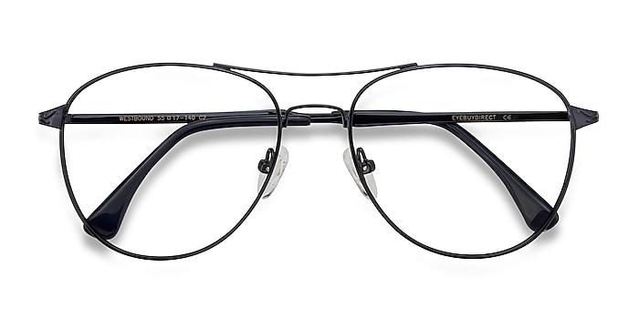 Dark Navy Westbound -  Vintage Metal Eyeglasses