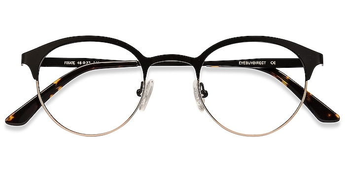 Black Golden Fixate -  Lightweight Metal Eyeglasses