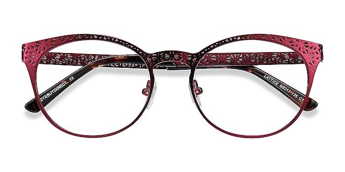 Red Purple Lattice -  Vintage Métal Lunettes de vue