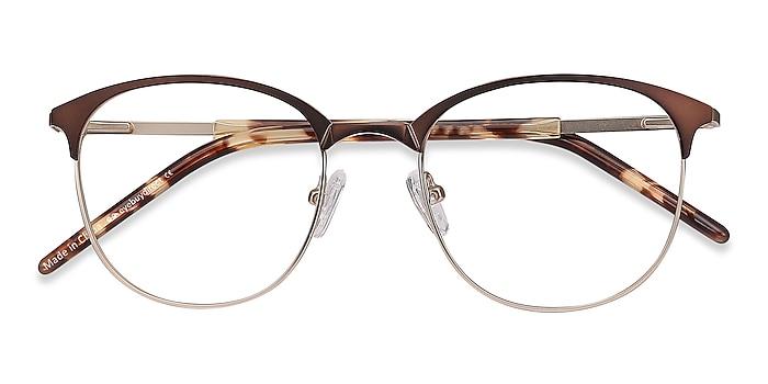 Brown Golden Perceive -  Lightweight Metal Eyeglasses