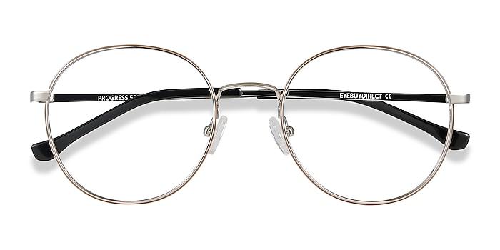 Brown Silver Progress -  Vintage Metal Eyeglasses