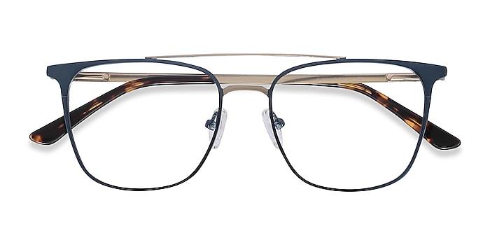Blue Contact -  Metal Eyeglasses