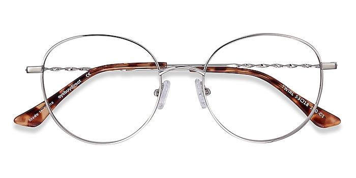 Silver Twirl -  Vintage Metal Eyeglasses