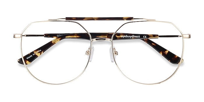 Golden Tortoise Coxon -  Vintage Metal Eyeglasses