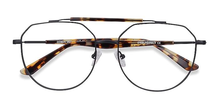 Black Tortoise Coxon -  Vintage Metal Eyeglasses