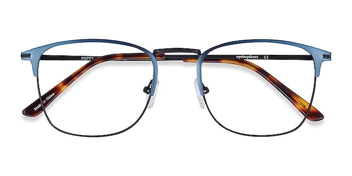 Navy Black Poppy -  Metal Eyeglasses