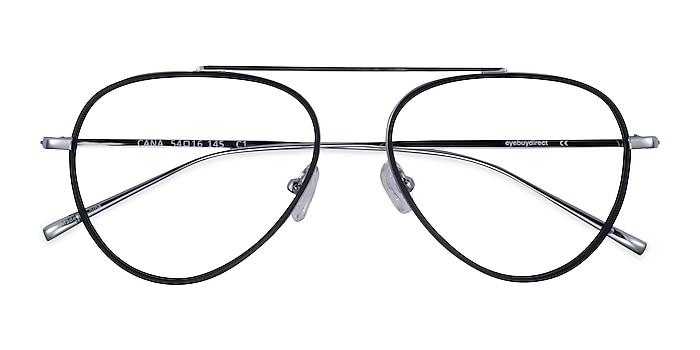 Black  Silver Cana -  Vintage Metal Eyeglasses