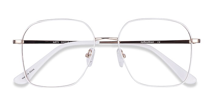 White & Gold Arty -  Vintage Metal Eyeglasses