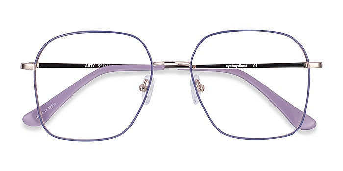 Purple & Gold Arty -  Vintage Metal Eyeglasses