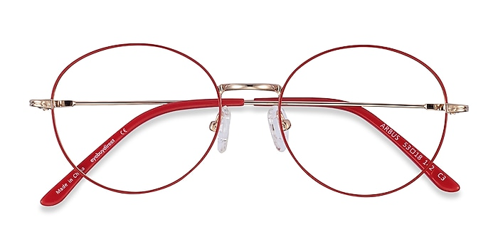 Red & Gold Arbus -  Lightweight Metal Eyeglasses