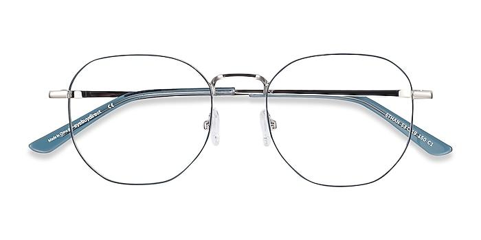 Navy & Silver Ethan -  Lightweight Metal Eyeglasses