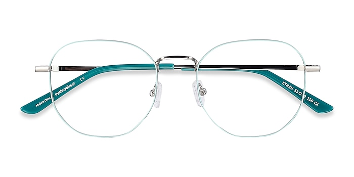 Mint & Silver Ethan -  Lightweight Metal Eyeglasses