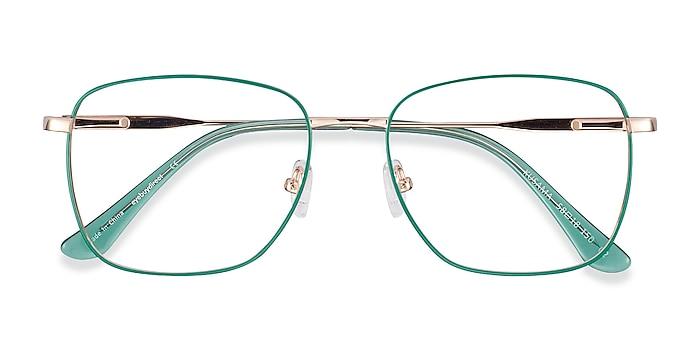 Green & Gold Kusama -  Vintage Metal Eyeglasses