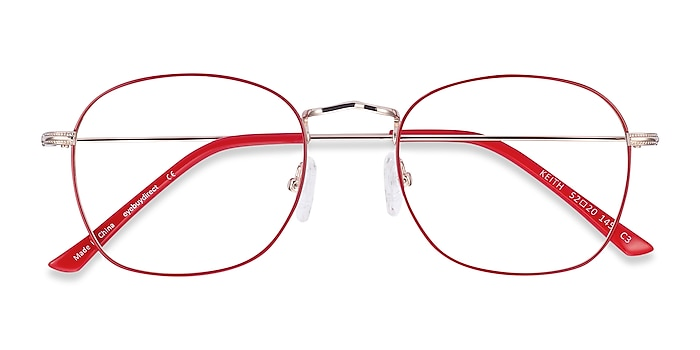Red & Gold Keith -  Classic Metal Eyeglasses