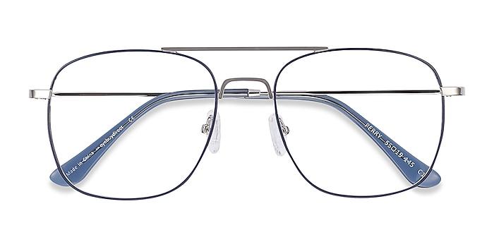 Blue & Silver Perry -  Vintage Metal Eyeglasses