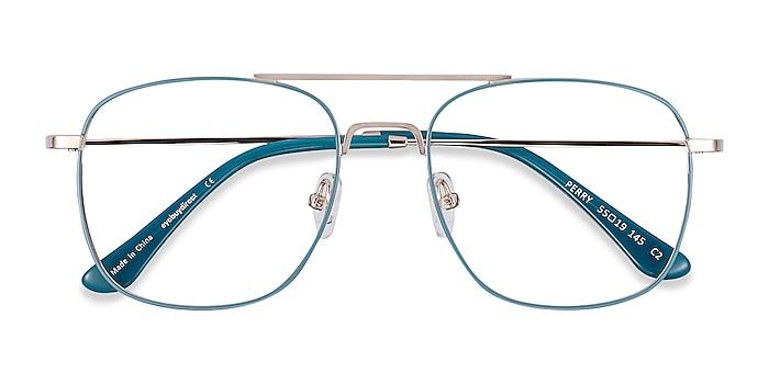 Teal & Gold Perry -  Vintage Metal Eyeglasses