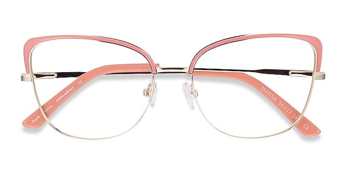 Coral & Gold Marina -  Vintage Metal Eyeglasses