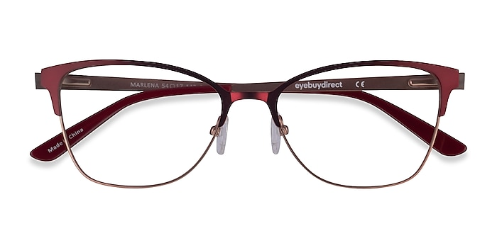 Burgundy  Rose Gold Marlena -  Metal Eyeglasses