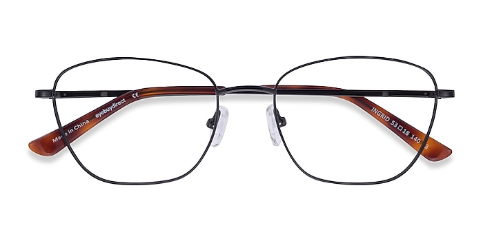 Shiny Black Ingrid -  Metal Eyeglasses