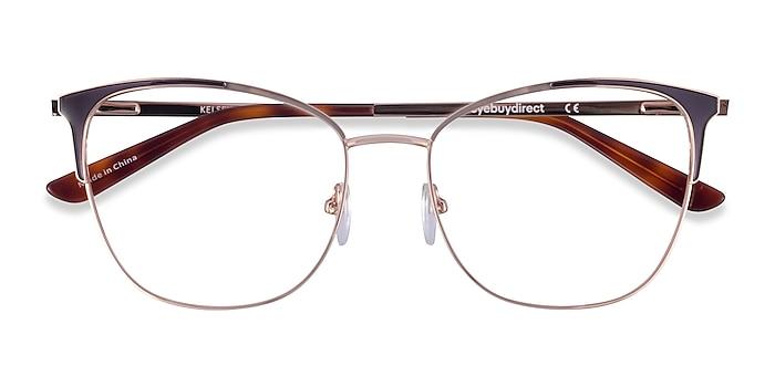 Navy Rose Gold Kelsey -  Metal Eyeglasses