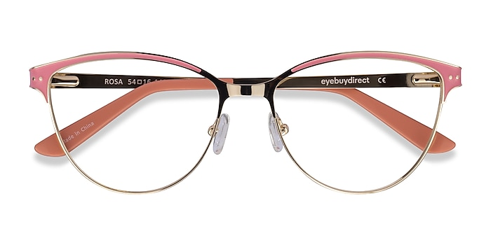 Gold Pink Rosa -  Colorful Metal Eyeglasses