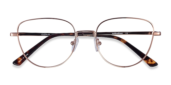 Shiny Rose Gold Clotilde -  Metal Eyeglasses