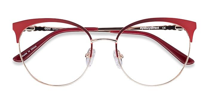 Red Gold Gem -  Colorful Metal Eyeglasses