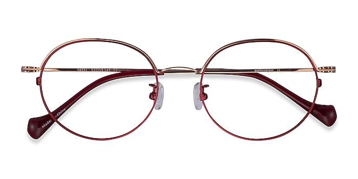 Burgundy  Rose Gold Patel -  Metal Eyeglasses