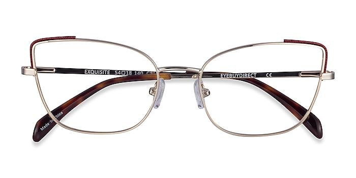 Light Gold Burgundy Exquisite -  Metal Eyeglasses