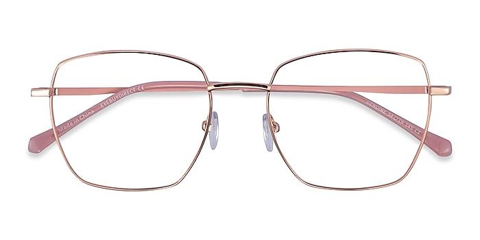 Rose Gold Pink Genuine -  Metal Eyeglasses