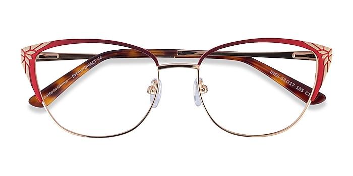Burgundy Gold Ines -  Metal Eyeglasses