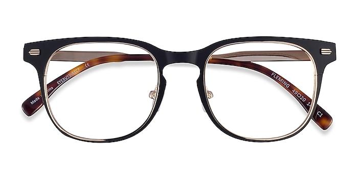 Matte Black Gold Fleming -  Metal Eyeglasses