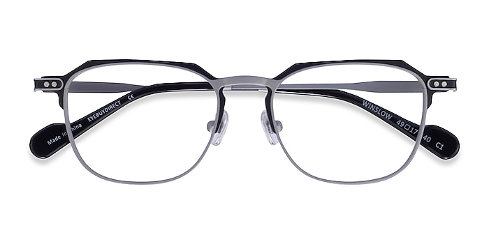 Matte Silver Black Winslow -  Metal Eyeglasses