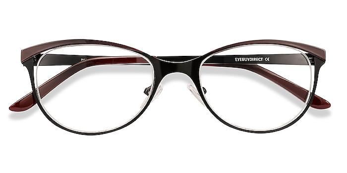 Black Red Deco -  Vintage Metal Eyeglasses