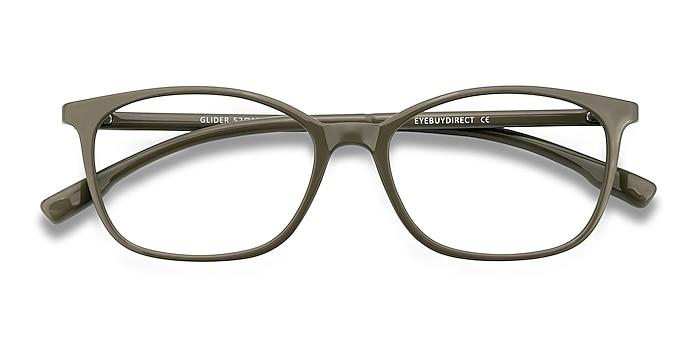 Olive Green Glider -  Lightweight Plastic Eyeglasses