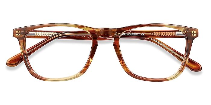 Brown Striped Prelude -  Coloré Acétate Lunettes de vue