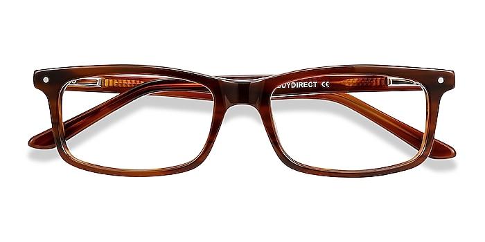 Brown Striped Mandi -  Acetate Eyeglasses